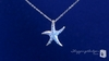 CZ Starfish Pendant Necklace in Sterling Silver, Adjustable 16