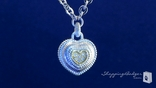 Phillip Gavriel Diamond Heart Pendant Chain Necklace in Sterling Silver & 18K Gold