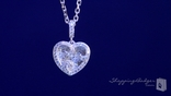 Pretty Micro-Pave CZ Heart Necklace in Sterling Silver, 18""