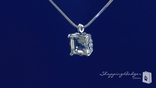 Princess Cut Green Amethyst Solitaire Pendant Necklace in Sterling Silver