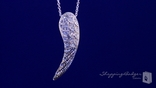 "CZ Angel Wing Necklace in Sterling Silver, Adjustable 16""-18"""