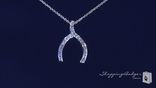 "Channel Set CZ Wishbone Necklace in Sterling Silver, Adjustable 16""-18"""