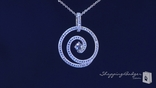 Micro Pave CZ Circle Swirl Necklace in Sterling Silver, 16""