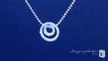 Petite Diamond CZ Double Circle of Love Pendant Necklace in Sterling Silver, 16""
