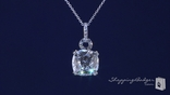 "Square Cushion Cut CZ Four Prong Solitaire Necklace in Sterling Silver, Adjustable 16""-18"""