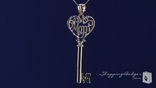Love Mom Heart Key Necklace in 14K Yellow Gold, 18""