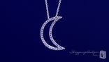 "Open Moon Necklace with AAA CZ in Sterling Silver, Adjustable 16""-18"""