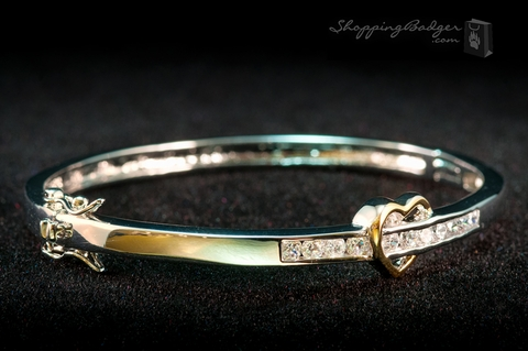 Sterling Silver CZ Bangle with Heart: ShoppingBadger.com