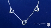 Triple Heart Link Necklace in Sterling Silver, 16 inch