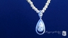 Sterling Silver Pearl Diamond Pave CZ Double Teardrop Bridal Necklace|ShoppingBadger.com