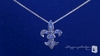 CZ Fleur de Lis Pendant Necklace in Sterling Silver, 16