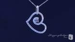 Fancy Micro Pave CZ Open Heart Pendant Necklace in Sterling Silver, 16""