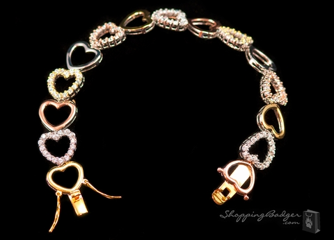 Tricolored Silver CZ Heart Bracelet: ShoppingBadger.com