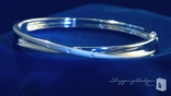 Sterling Silver 6mm Bangle Bracelet with .02 ct. Diamonds, 7""