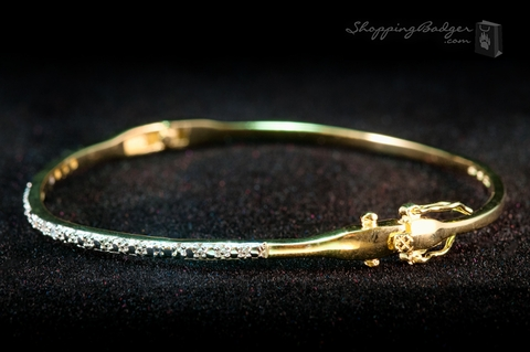 Fine Gold-Plated Silver Bangle with CZs: ShoppingBadger.com