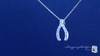CZ Wishbone Pendant Necklace in Sterling Silver, 16