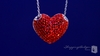 Red Crystal Puffed Heart Necklace in Sterling Silver, 16