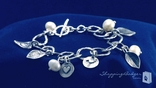 Pearl, Heart, & Leaf Charm Bracelet in Sterling Silver, 7.5""