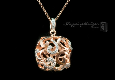 Rose Gold-Plated Silver Designer Pendant with CZs, 18