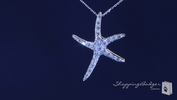 "CZ Starfish Necklace in Sterling Silver, 16""-20"""