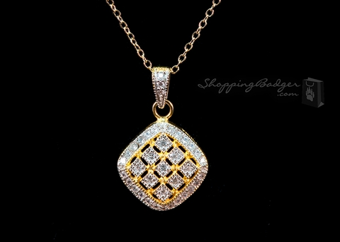 Gold-Plated Silver Square Pendant with CZs: ShoppingBadger.com