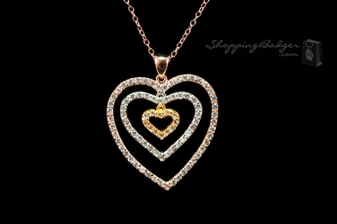 Tricolor Gold-Plated Silver CZ Triple Heart Pendant: ShoppingBadger.com