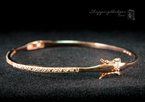Fine Rose Gold-Plated Silver Bangle with CZs: ShoppingBadger.com