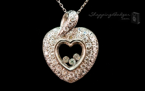 Silver and CZ Heart with Floating CZs: ShoppingBadger.com