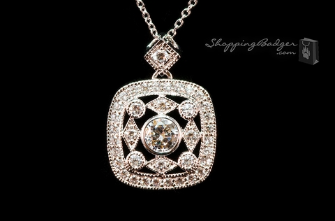 Square Antique Filligree CZ Pendant: ShoppingBadger.com