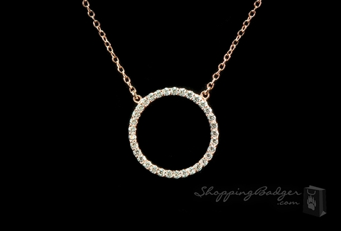Rose Gold-Plated Silver CZ Eternity Circle Pendant : ShoppingBadger.com