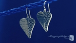 Sterling Silver Half Hammered Heart Earrings