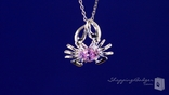 "Crab Pendant with Pink CZ in Sterling Silver, 16""-20"""