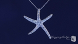 "Large CZ Starfish Necklace in Sterling Silver, Adjustable 16""-18"""