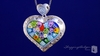 Millefiori Satin Finish Murano Glass Heart Necklace in Sterling Silver, 18
