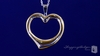 Large Reversible Open Heart Necklace in Sterling Silver & 14K Yellow Gold, 18