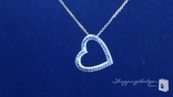 Pave Diamond Cut Floating Heart Necklace in 14K Gold, 18""