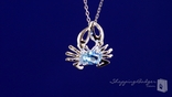 "Crab Pendant with Aquamarine CZ in Sterling Silver, 16""-20"""