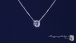 "Bezel Set 7mm Diamond CZ Solitaire Necklace in Sterling Silver, Adjustable 16""-18"""