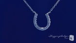 CZ Horseshoe Necklace in Sterling Silver, 16""