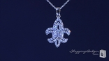 "Pave CZ Fleur de Lis Necklace in Sterling Silver, Adjustable 16""-18"""