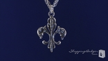 "RockLove Filigree Fleur de Lis on Triple Chain Necklace in Sterling Silver, 16""-20"""