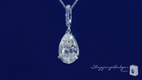 "Pear Shape CZ Drop Pendant Necklace in Sterling Silver, Adjustable 16""-18"""