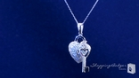 Sterling Silver Pave CZ Heart & Key Pendant Necklace