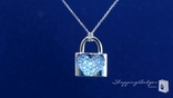 Diamond CZ Pave Heart Lock Pendant Necklace in Sterling Silver, 16""