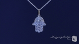 "CZ Hamsa Necklace in Sterling Silver, Adjustable 16""-18"""