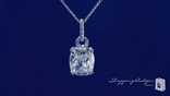 "Rectangular Cushion Cut CZ Solitaire Pendant Necklace in Sterling Silver, Adjustable 16""-18"""