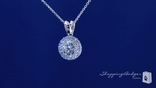 "Round Solitaire CZ Necklace in Sterling Silver, Adjustable 16""-18"""