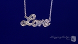 "CZ Love Pendant Necklace in Sterling Silver, Adjustable 16""-18"""