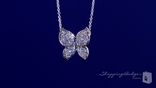 "Petite CZ Butterfly Necklace in Sterling Silver, Adjustable 16""-18"""