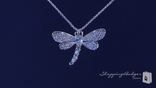 "CZ Dragonfly Necklace in Sterling Silver, Adjustable 16""-18"""